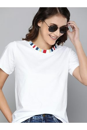 Mast & Harbour Women White Solid Relax Fit Round Neck High Low T-shirt