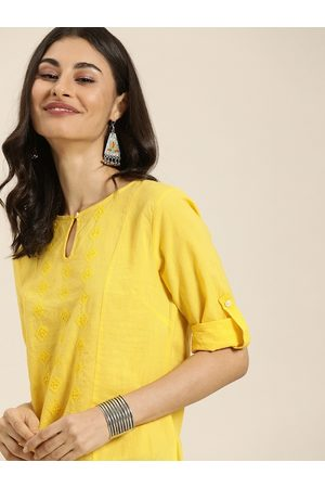 Taavi Women Yellow Embroidered Chikankari Kurtis With Roll-Up Sleeves