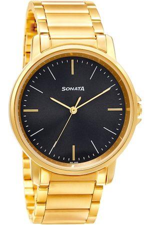 Sonata Men Black & Gold-Toned Analogue Watch 77083YM04W