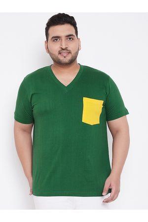 Bigbanana Men Green Solid V-Neck T-shirt