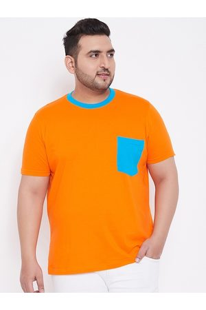 Bigbanana Men Plus Size Orange Colourblocked Round Neck T-shirt