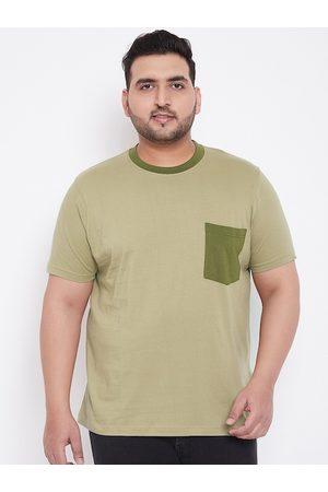bigbanana Men Khaki Solid Round Neck T-shirt