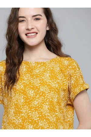 Mast & Harbour Women Mustard Yellow & White Ditsy Floral Print Top