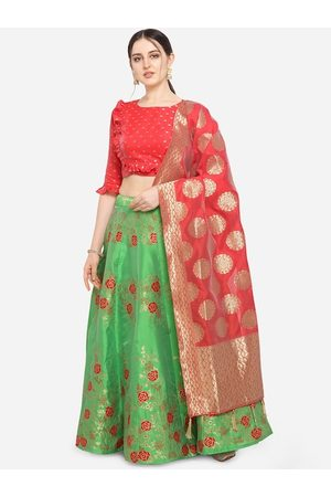 PURVAJA Women Green & Red Printed Semi-Stitched Lehenga & Unstitched Blouse with Dupatta
