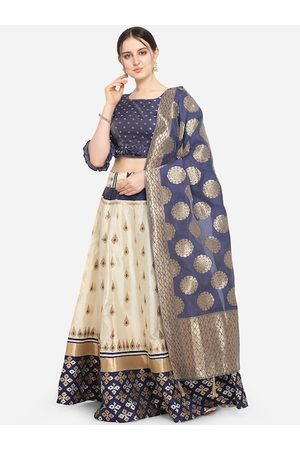 PURVAJA Women Cream Coloured & Navy Blue Jacquard Woven Design Semi Stitched Lehenga & Unstitched Choli With Dupatta