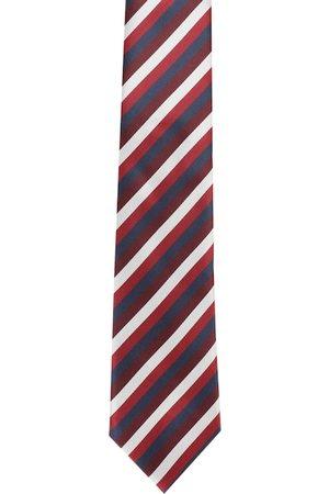 Alvaro Castagnino Men White & Maroon Striped Broad Tie
