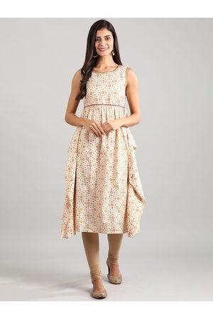 AURELIA Women Off-White & Rust Orange Side Flap Detail Printed Empire Dress
