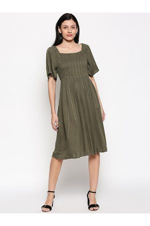 Pantaloons Women Olive Green Self Design Fit and Flare Dress