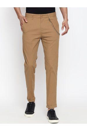 People Men Khaki Skinny Fit Solid Regular Trousers