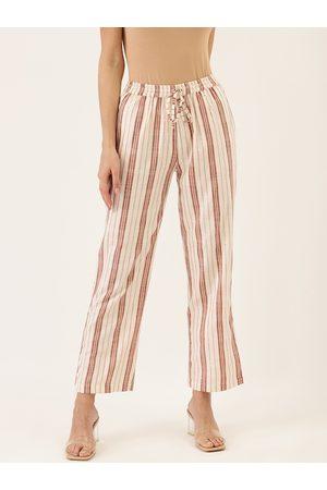 Cottinfab Women Off-White & Red Cotton Striped Straight Palazzos