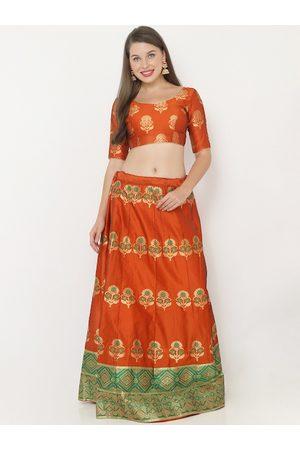 SALWAR STUDIO Women Orange & Gold-Coloured Woven Design Semi-Stitched Lehenga & Unstitched Blouse