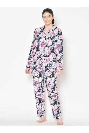Cation Women Navy Blue & Pink Printed Night Suit