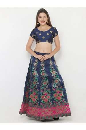 SALWAR STUDIO Women Navy Blue & Pink Woven Design Unstitched Blouse With Semi-Stitched Lehenga