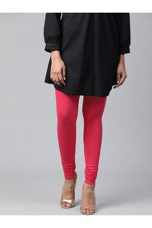 AURELIA Women Fuchsia Pure Cotton Solid Churidar Leggings