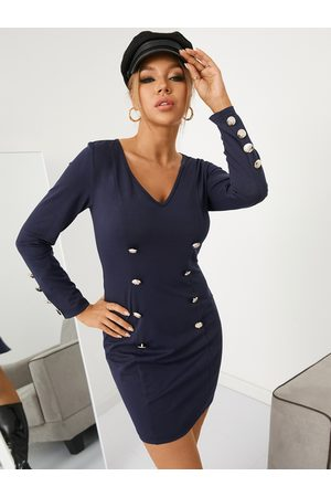 YOINS Fashion Long Sleeves Button Pencil Dress