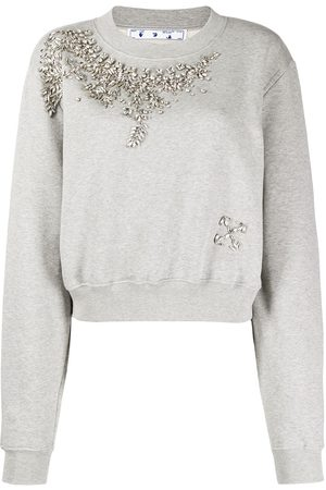 OFF-WHITE Swarovski embellished cropped sweatshirt