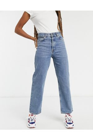 Selected Femme Kate organic cotton straight leg jeans with high waist in