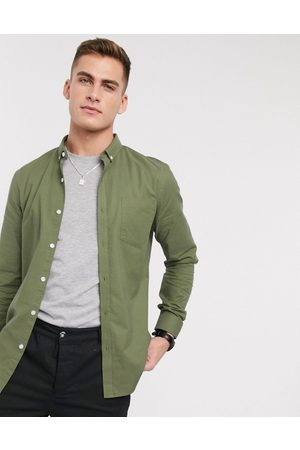 New Look Long sleeve organic cotton oxford shirt in khaki