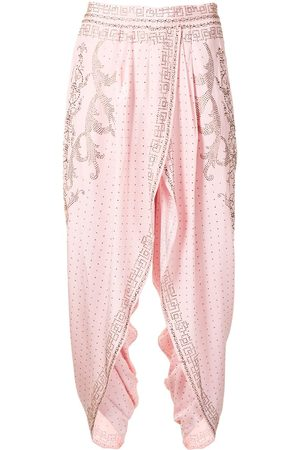 Camilla Women Trousers - Crystal-embellished cropped trousers