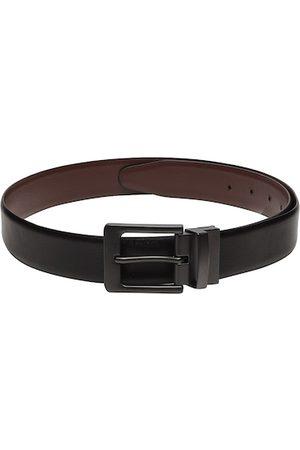 Teakwood Leathers Men Black & Brown Solid Genuine Leather Reversible Belt
