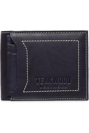 Teakwood Leathers Men Blue Solid RFID Protected Two Fold Wallet Two-Fold Leather Wallet
