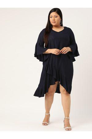Revolution Women Navy Blue Plus Size Solid A-Line Dress