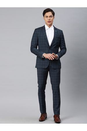 Arrow Men Navy Blue and Grey Checked Single-Breasted Formal Suit