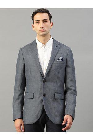 Matinique Men Blue Slim Fit Self Design Formal Blazer