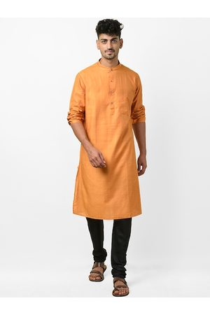Fab India Men Orange & Golden Checked Slim Fit Straight Kurta