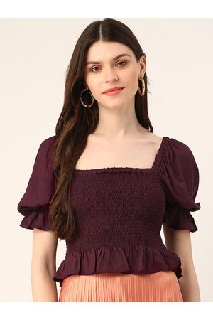 Trend Arrest Women Burgundy Solid Smocked Fitted Top