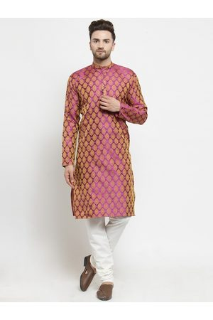 Jompers Men Pink & White Woven Design Kurta with Churidar