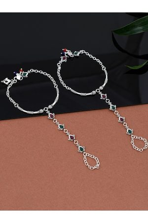 Silvermerc Designs Stylish & Trendy Silver Plated Green & Pink Stone Studded Anklet For Women