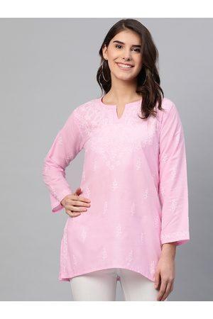 ADAM Co. Women Pink & White Chikankari Embroidered Pure Cotton Straight Kurti