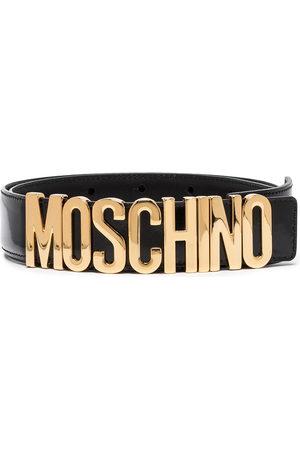 Moschino Women Belts - Logo-plaque buckled belt