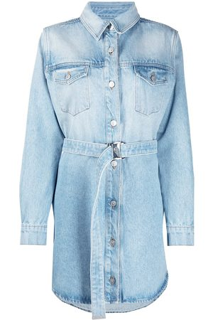 OFF-WHITE Women Casual Dresses - Arrows floral-embroidered denim shirtdress