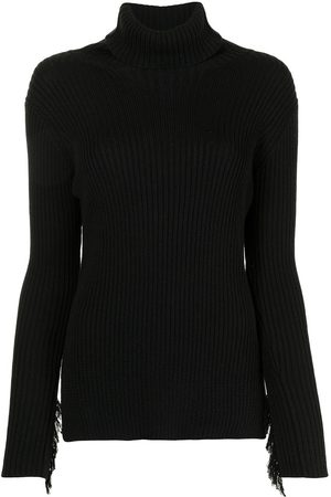Y'S Women Jumpers - Ribbed fringed jumper