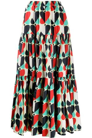 La DoubleJ Big geometric-print tiered skirt