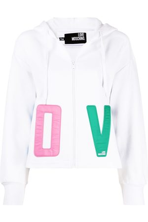 Love Moschino Embroidered-love cotton hoodie