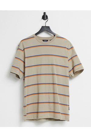 Only & Sons Stripe t-shirt in beige