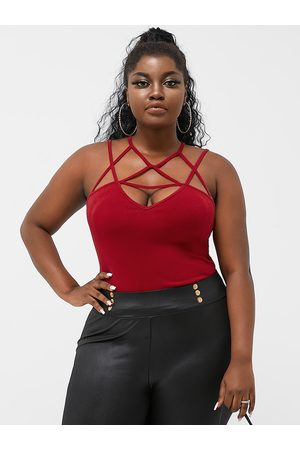 YOINS Plus Size V-neck Cut Out Backless Design Sleeveless Cami