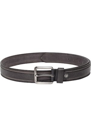 Teakwood Leathers Men Black Solid Leather Belt