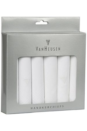Van Heusen Men Handkerchiefs - Men Pack Of 6 White Solid Accessory Gift Set