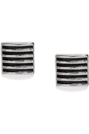 Peora Silver-Toned & Black Square Cufflinks