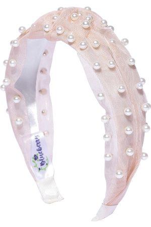 Blueberry Women Hair Accessories - Women Peach-Coloured & White Beaded Hairband