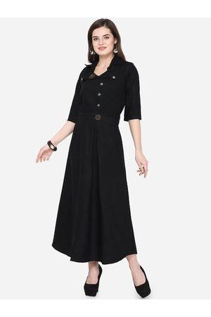 Silk Bazar Women Black Solid A-Line Kurta