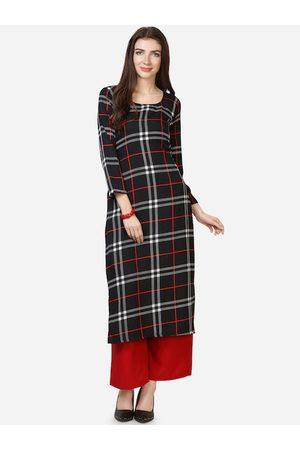 Silk Bazar Women Black Checked Straight Kurta