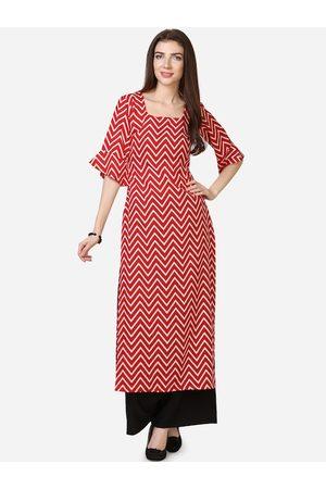 Silk Bazar Women Kurtas - Women Red Printed A-Line Kurta