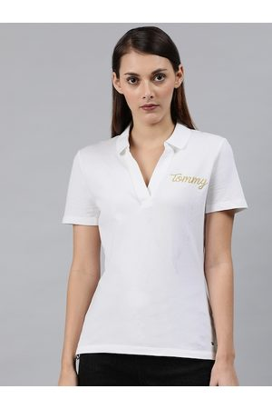 Tommy Hilfiger Women White Solid Polo Collar T-shirt With Embroidered Detailing