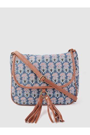 Anouk Women Navy Blue & White Ethnic Motifs Print Sling Bag with Tasselled Detail