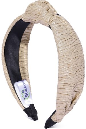 Blueberry Women Beige Crinkled Hairband with Knot Detail